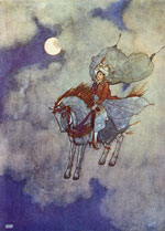 An illustration by Edmund Dulac of a horse flying through the air.