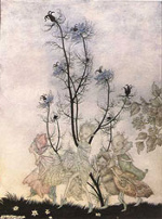An illustration of three fairies by Arthur Rackham