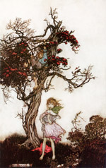 An illustration by Arthur Rackham of two children by a tree.