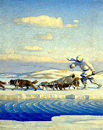A winter illustration by N.C. Wyeth